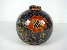 Vase terre cuite émaillé ceramique Alsace signé O Kutzenhausen decor fleurs