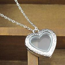 1pc Silver Floating Retro Carving Love Heart Magnetic Locket Pendant Necklace