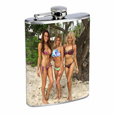 Hawaiian Girls D5 Flask 8oz Stainless Steel Hip Drinking Whiskey