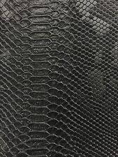 Black Faux Viper Sopythana Snake Skin Vinyl Fabric - Sold By The Yard - 52""