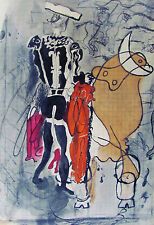 BRAQUE - THE BULL FIGHTER - ORIGINAL LITHOGRAPH - 1955 - FREE SHIP IN THE US !!!