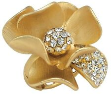 Spring Street Floral Radiance Gold-Tone Daisy Flower Adjustable Ring wt Crystals