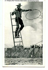 Cowboy Calgary Red Seward-Rodeo Trick-Stryker Photo-Western Vintage Postcard