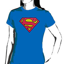 SUPERMAN - Logo On Blue Ladies/Girls Shirt - NEW - Size 14