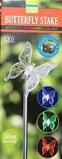 NEW GARDEN SOLAR POWERED BUTTERFLY STAKE WITH COLOUR CHANGING LED LIGHT