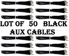 LOT OF 50 BLACK AUX CABLES AUXILIARY CORD Male Stereo Audio Cable iPod MP3 CAR