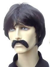 Male/Men's Black Fancy Dress Wig and Droop Moustache Set. The Villain(Short Cut)