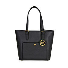A Michael Kors Jet Set Travel Medium Saffiano Leather Tote - Black