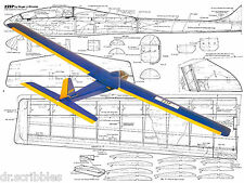 "RADIO CONTROL Glider Span 56""  SLOPE SOARER ZZIP Model Airplane Plans & Article"