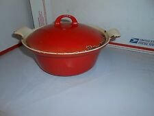 VTG GRISWOLD CAST IRON RED ENAMEL #68 DUTCH OVEN CASSEROLE ROASTING PAN WITH LID