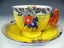 BEAUTIFUL BUTTERFLY FLORALS TEA CUP AND SAUCER TEACUP SET