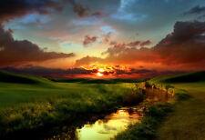 GRANDE stampa incorniciata-Rosso Campagna al tramonto (PICTURE POSTER PAESAGGIO SCENIC)