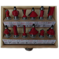 "NEW 12PC 1/2"" PROFESSIONAL SHANK TCT TIPPED ROUTER BIT SET WITH WOODEN CASE TOOL"