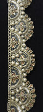 9 Meter Indian Mirror Stone Pearl Zari Border Dupatta Sari Ethenic Ribbon Trim