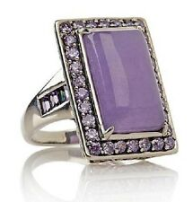 """Jade of Yesteryear "" Joy Lavender Jade and Purple Amethyst Sterling Silver Ring"