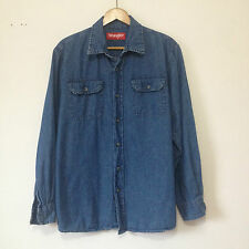 Vtg Men's Wrangler Denim Shirt Medium Blue Medium M Button Front