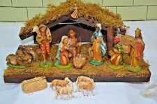 VINTAGE DEPOSE ITALY FONTANINI CHRISTMAS NATIVITY with 13 FIGURES & WOOD CRECHE