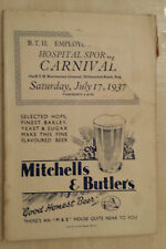 B.T.H. HOSPITAL SPORTS CARNIVAL PROGRAMME - Saturday 17th July1937