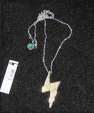 MARC JACOBS GOLD GLITTER DEBBIE'S LIGHTNING BOLT PENDANT NECKLACE $78 NWT