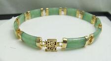 14K Solid Gold Natural Jade Link Bracelet w/ feng shui luck box clasp - NWOT 11g