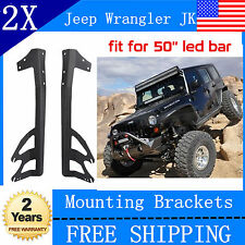 "Sales!07-15 Jeep JK Wrangler Hood Mount Brackets For 50"" 288W Led Work Light Bar"