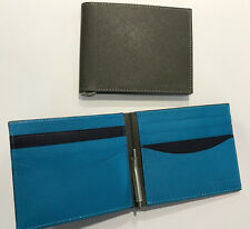 Paul Smith MONEY CLIP WALLET Credit Card Bi-fold Taupe & Kingfisher Blue