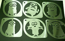 M1 Set of 6pcs Minions Despicable Me Airbrush Stencil Coffee Face Body Paint