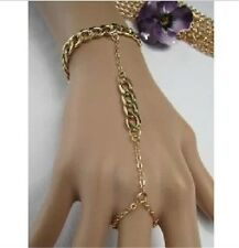 Elegant new fashion women bling 18K gold ring attached Switch buckle bracelet