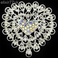 NEW LARGE SILVER HEART FLOWER BROOCH DIAMANTE CRYSTAL WEDDING PARTY CAKE BROACH