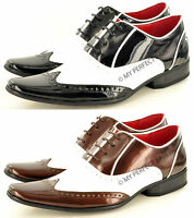 Mens Black Brown White Funky Pointed Winkle Pickers Brogue Patent Shoes UK 7-11