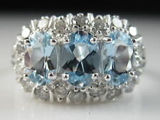 18K Aquamarine Diamond Princess Ring Estate White Gold Fine Jewelry Three Stone
