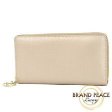 Gucci long lovely around zipper around wallet leather pink beige 308005