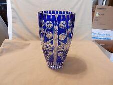 "Bohemian Cobalt Blue Cut to Clear Crystal Vase 8.125"" Tall"