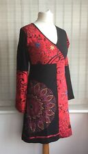 Gringo Fair Trade S/M U.K. 10 Festival Embroidered Red Black Psy Tunic Dress