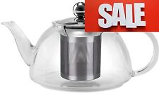 Heat Resistant Glass Kettle Stove Top Tea Pot Stainless Steel Leaf Strainer