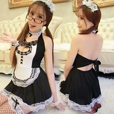 Sexy Cosplay Babydoll Lolita French Maid Fancy Halloween Lace Costume Dress Set