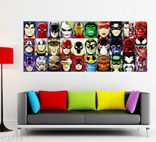 Superhero Batman Superman Hulk Iron Man Captain America Poster Large Banner Art