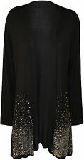 New Ladies Long Sleeve Sequin Glitter Sparkle Womens Open Cardigan Plus Size SDH