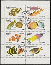 State of Oman sheet of 8 Fish Stamps,Clownfish, Grunt CTO Trucial State bogus