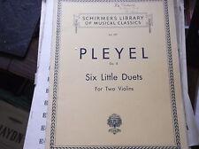 VINTAGE SHEET MUSIC BOOKLETS PIANO & 2 VIOLINS PARTS PLEYEL 6 LITTLE DUETS OP48