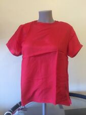 NEW PS Petite 100% SILK  Red Blouse Short Sleeve Top nwt ladies Jewel Neck