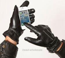 Men's Nappa Leather Touch Screen Gloves for phone Smartphone Warm Fleece Lining