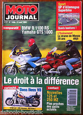 MOTO JOURNAL 13/05/1993; BMW R 1100 RS/ Yamaha GTS 1000/ GP d'Allemagne/ Boss Ho
