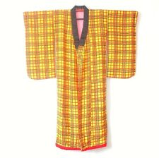 Vintage Japanese Kimono Yellow Check Hikizuri Long Gown Traditional H212