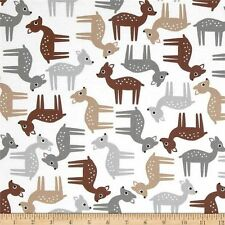 Robert Kaufman Cute Deer Fawn on White 100% cotton fabric by the yard