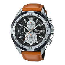 Edifice Mens Steel Case Leather Strap Chronograph watch. Look Good. EFR-539L-1B