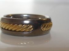 $950 DAVID YURMAN 18K GOLD, TITANIUM THOROUGHBRED MEN'S RING