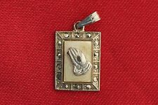 Vintage Sterling Chapel PRAYING HANDS mini medal With MARCASITE AND MOP catholic
