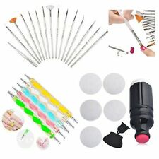 20pcs Nail Art Dotting Drawing Brush Pen + 5pcs Nail Art Stamp Image Plates Set