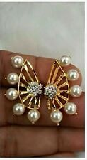 Latest Indian Bollywood 18K CZ Pearl Earcuffs Star Studs 2 in 1 Hot Gift Set